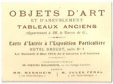 Carte Hotel Drouot 1914 exposition tableaux objet d'art enchère salle des ventes