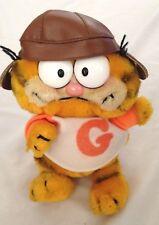 """Plush Orange Yellow 9"""" Garfield Cat Figure w Baseball Cap 1978 - 1981"""