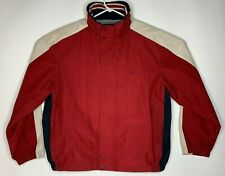 Vtg Nautica NX1000 Mens Size XL Red White Packable Nylon Hooded Sailing Jacket