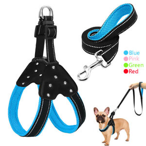 Reflective Dog Step-in Harness and Leash Bling Rhinestone Soft Mesh Walking Vest