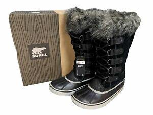 SOREL LADIES JOAN OF ARCTIC BLACK FUR SNOW BOOTS LACE UP MANY SIZES RRP £180 C