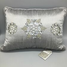 Kim Seybert Silver Beaded Snowflake Pillow Lumbar Embellished Holiday 12x16