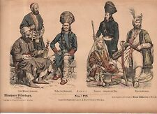 1880 Chromo Fashion print Tibet and Himalayas Rajah & Maharajah with water pipes