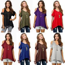 Womens Summer Cold Shoulder Loose Short Sleeves Blouse Tops T-Shirt Plus Size UK