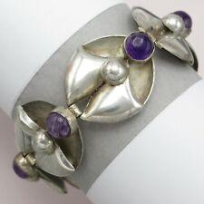 Vintage 1930's Art Deco Sterling Silver Natural Amethyst Modernist Bracelet