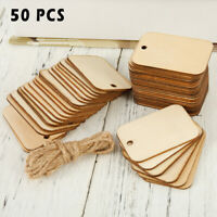 50pcs/100pc Wooden Label Unfinished Rectangle Blank Wood Gift Tags Wedding Party