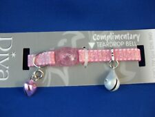 Cat Collar - Shimmer Pink - Safety Release Clip - Pink Heart Bell &Teardrop Bell