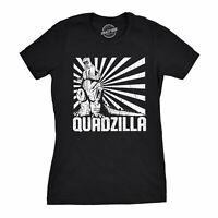 Womens Quadzilla T Shirt Funny Gym Tee Leg Day Tshirt Joke Workout Top (Black) -