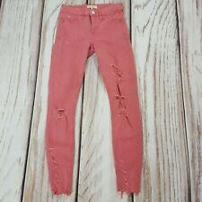 River Island Molly Pink Ripped Skinny Stretch Raw Hem Jeans Size 6