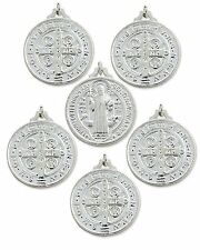 Silver Tone St. Benedict Medal with Stamped Cross on the Back, Medium, Pack of 6