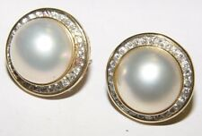 Gorgeous Mother of Pearl 1.20CT Diamond BUTTON Earrings 20MM 14K gold