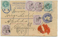 GB 1900 uprated QV 2 D postal stationery registered env to HUGO MICHEL, APOLDA