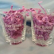 Set of 2 Four Roses Bourbon Low Ball Glasses Etched Base and Embossed