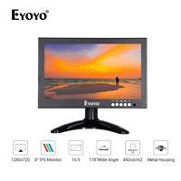 "Eyoyo 8""IPS 16:9 HDMI Monitor 1280x720 Screen VGA/AV/BNC/SPEAK Input For PC CCTV"