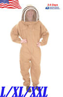 Safety Cotton Full Body Beekeeping Bee Keeping Suit W/Veil Hood Professional