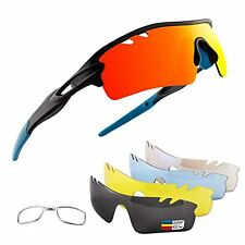 Polarized Sports Sunglasses with 5 Interchangeable Lenses, Cycling Glasses