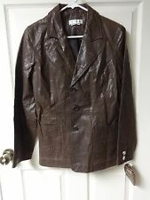 NWT Vintage 1980's Newport News Buttoned Front Lined Leather Coat Women Size 8