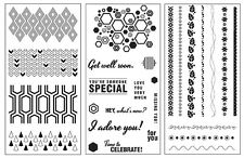 3 Sets Fiskars Clear Stamps - Borders, Shapes, Hexagons, Arrows, Flowers, Leaves