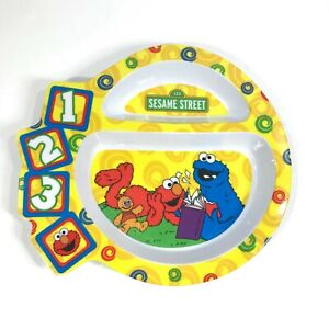 The First Years Sesame Street 123 Divided Plate Plastic 2005 Yellow Toddler