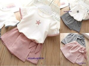 Girls Summer set 2 pcs Top Shorts sets Skort Skirt Set Age 2 3 4 5 6 7 years