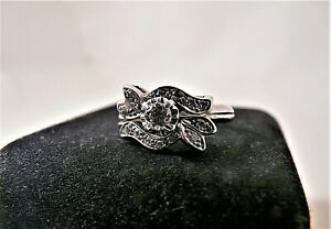 60-70's 14K White Gold Keepsake Starfire 1/3 Carat Diamond Wedding Ring Set