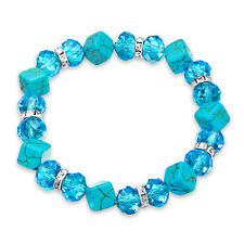 Blue Crystal Turquoise Stretch Bracelet White Crystal Gold Plated