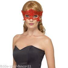 Womens Emroidered Lace Filgree Heart Eye Mask Fantasy Masquerade Hen Halloween
