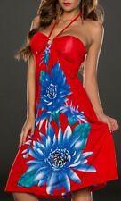 Sexy Miss Damen Neckholder Kleid Strass Dress 34/36/38 Blumen rot bunt TOP