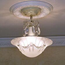 154b Vintage aRt Deco Ceiling Light chandelier fixture glass shade white 3 Light