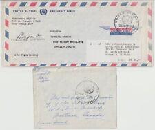 UNO-Friesdensmission 1957/65 UNEF mittlerer Osten 2 Feldpostbriefe nach Kanada.