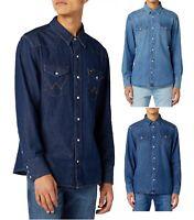 Wrangler Denim Shirt Long Sleeve Vintage Western Faded Jean Shirts Regular