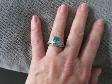 PEACOCK QUARTZ & NATURAL CAMBODIAN LARGE RING-SIZE M-3.500CTS-WITH PLATINUM