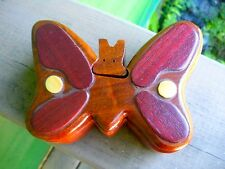 Four Piece All Wood Puzzle Box- BUTTERFLY SHAPE- Inlaid Wood & 'Secret Compartme
