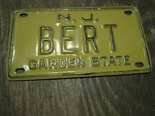 Vintage New Jersey Garden State Mini Bike Bert Vanity Name License Plate Sign