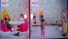 Küchenmöbel mit Spüle und Zubehör und Eßzimmer Puppenhaus Lundby