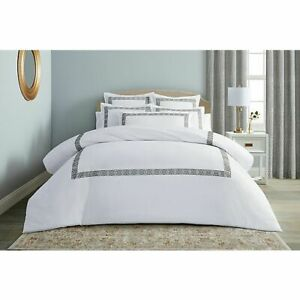 Wamsutta Ardsley Duvet Cover & 2 Shams Embroidery in Charcoal Grey King $170