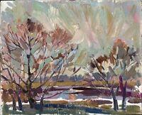 """Russischer Realist Expressionist Öl Pappe """"Herbst"""" 50 x 40 cm"""