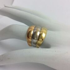 ITALIAN WIDE 18K TRI COLOR GOLD MILOR RING SIZE 7