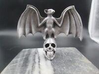 vampire bat on skull  ratrod hotrod car hood ornament