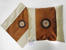 PAIR(2PCS)brown Chinese Hmong Miao Nationality SUN design Satin Cushion Cover