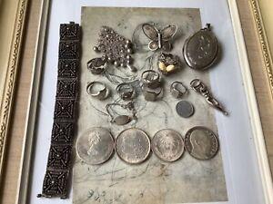 Schmuck Konvolut  Nachlass, Münzen, Ringe, Armband😊 Größtenteils Silber gepunzt
