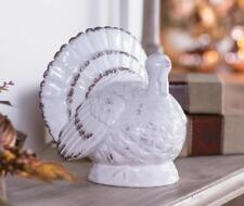 Thanksgiving Autumn Harvest White Gilded Ceramic Turkey Centerpiece Decoration