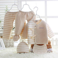 Baby 100% Cotton Newborn Baby Boy Girl Warm Outfits Clothes 5pcs set 0-3Month