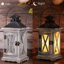 Wooden Decorative Lantern Vintage Rustic Hanging Metal Pillar Candle Holder
