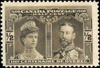 1908 Mint Canada F+ Scott #96 1/2c Quebec Tercentenary Issue Stamp Hinged