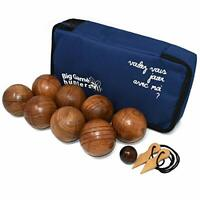 Big Game Hunters Wooden Boules Set of 8 Solid Engraved Balls with Padded Canvas