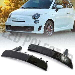 Euro Smoke Lens White LED Front Side Marker Light for 12-19 Fiat 500 Type 312 2X