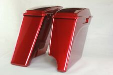 "Ember red sunglo 4"" 1/2 Left side no cutout extended saddlebags for Harley 93-13"