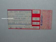 Bryan Adams 1985 Concert Ticket Stub Sacramento Cal Expo Amphitheatre Very Rare