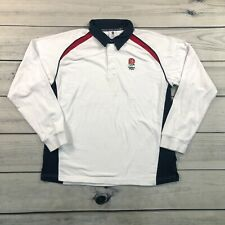 VTG England Rugby Long Sleeve Polo Mens Large White Embroidered Casual Shirt